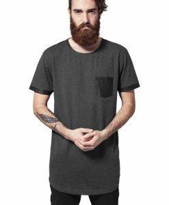 Tricou lung cu buzunar imitatie piele gri carbune-negru Urban Classics - Tricouri lungi - Urban Classics>Barbati>Tricouri lungi