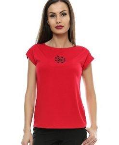 Tricou rosu din bumbac cu motiv traditional B71 - Tricouri -