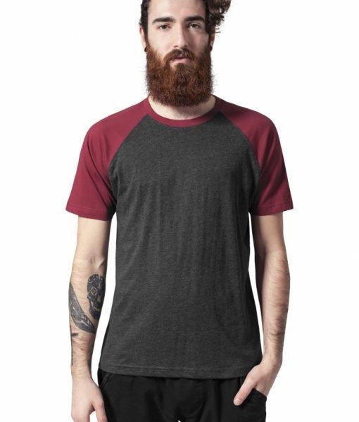 Tricouri casual in doua culori pentru barbati gri carbune-rosu burgundy Urban Classics – Barbati – Urban Classics>Colectie noua>Barbati