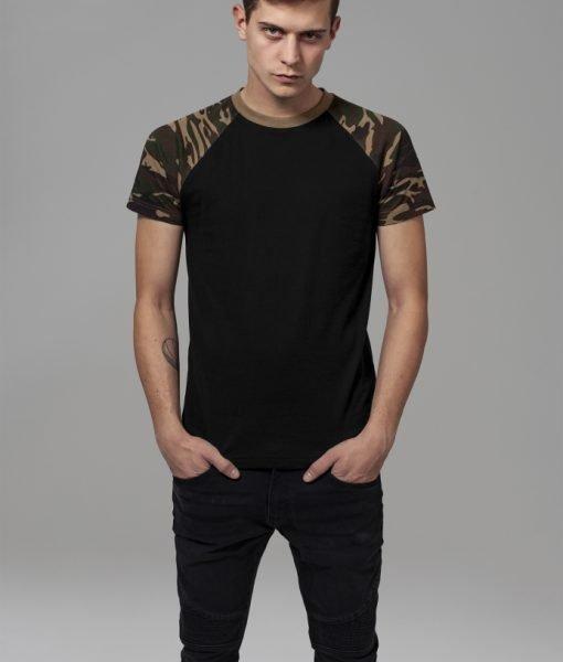 Tricouri casual in doua culori pentru barbati negru-camuflaj Urban Classics – Barbati – Urban Classics>Colectie noua>Barbati