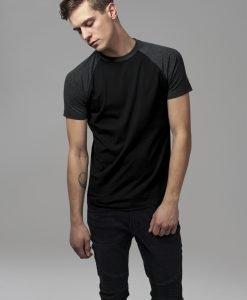 Tricouri casual in doua culori pentru barbati negru-gri carbune Urban Classics - Barbati - Urban Classics>Colectie noua>Barbati