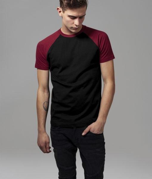 Tricouri casual in doua culori pentru barbati negru-rosu burgundy Urban Classics – Barbati – Urban Classics>Colectie noua>Barbati