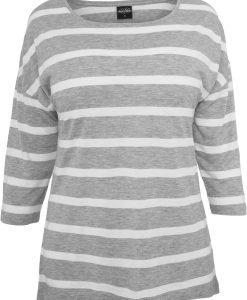 Tricouri cu dungi cu maneca trei sferturi - Tricouri urban - Urban Classics>Femei>Tricouri urban