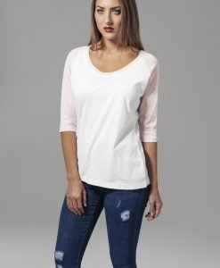 Tricouri cu maneca trei sferturi raglan alb-roz Urban Classics - Tricouri urban - Urban Classics>Femei>Tricouri urban