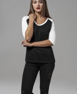 Tricouri cu maneca trei sferturi raglan negru-alb Urban Classics - Tricouri urban - Urban Classics>Femei>Tricouri urban