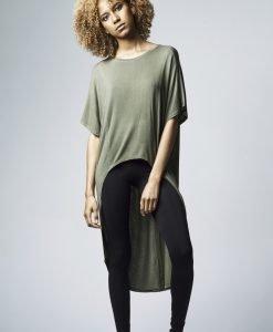 Tricouri largi mai lungi in spate cu maneca scurta pentru Femei oliv Urban Classics - Tricouri urban - Urban Classics>Femei>Tricouri urban