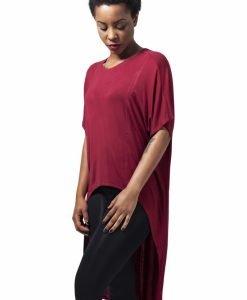 Tricouri largi mai lungi in spate cu maneca scurta pentru Femei rosu burgundy Urban Classics - Tricouri urban - Urban Classics>Femei>Tricouri urban